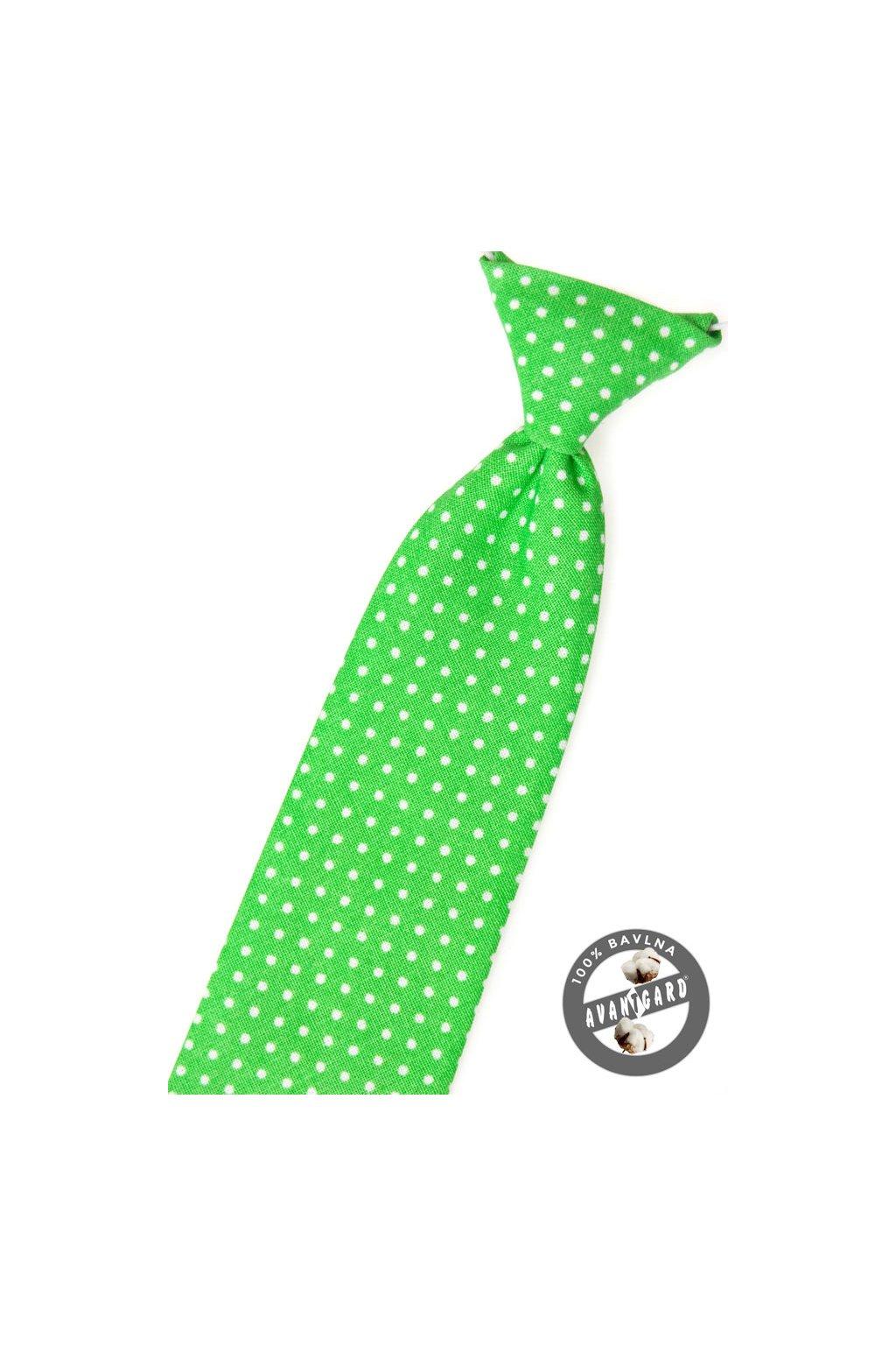 Zelená dětská kravata s bílými puntíky