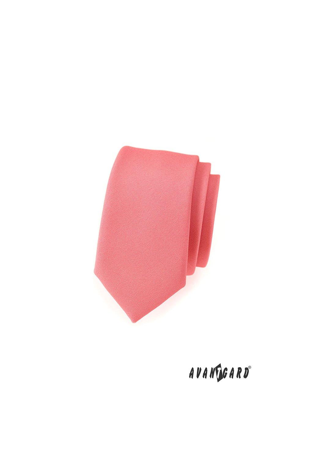 Korálová slim kravata – matná