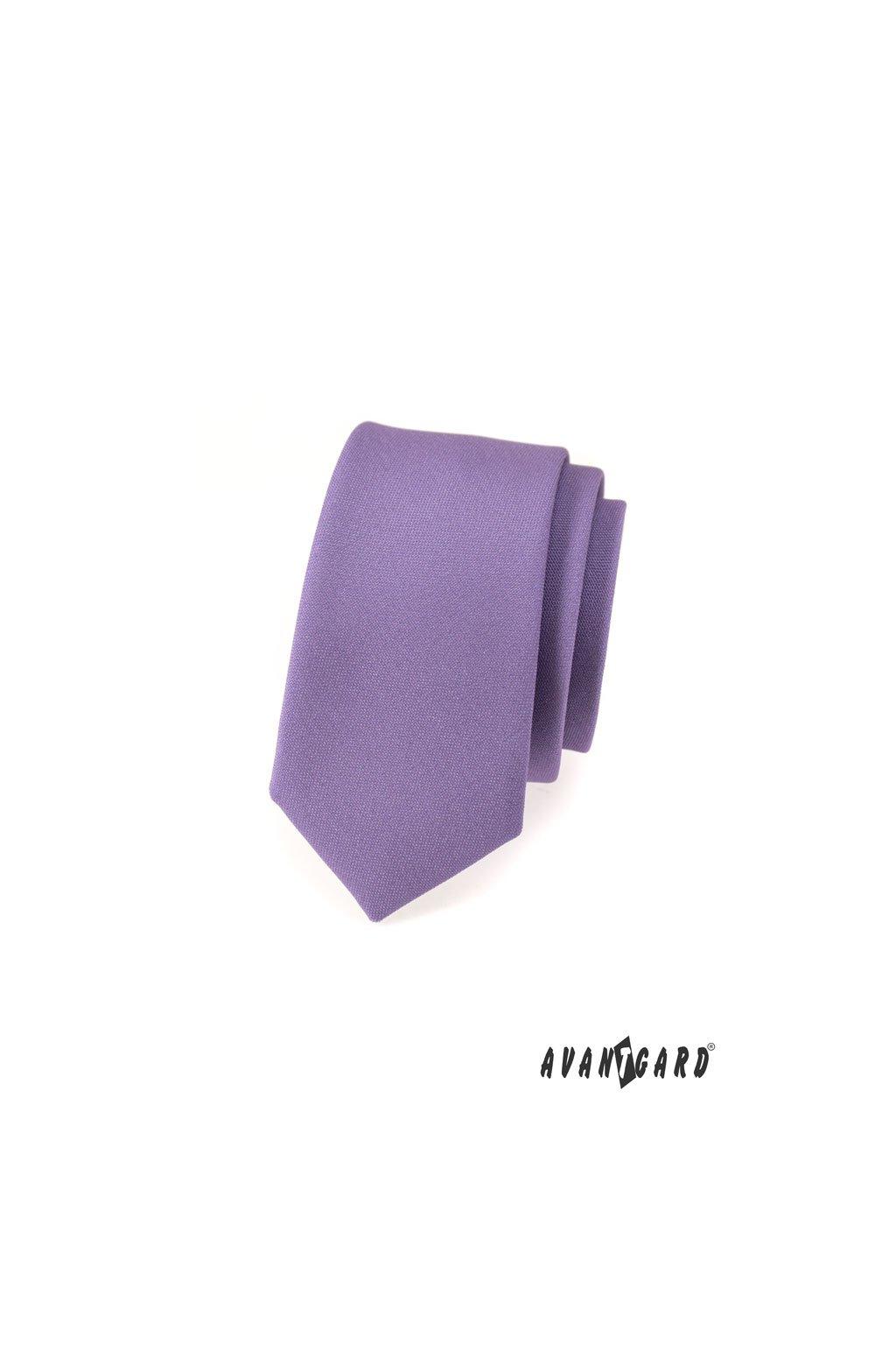 Matná fialová slim kravata