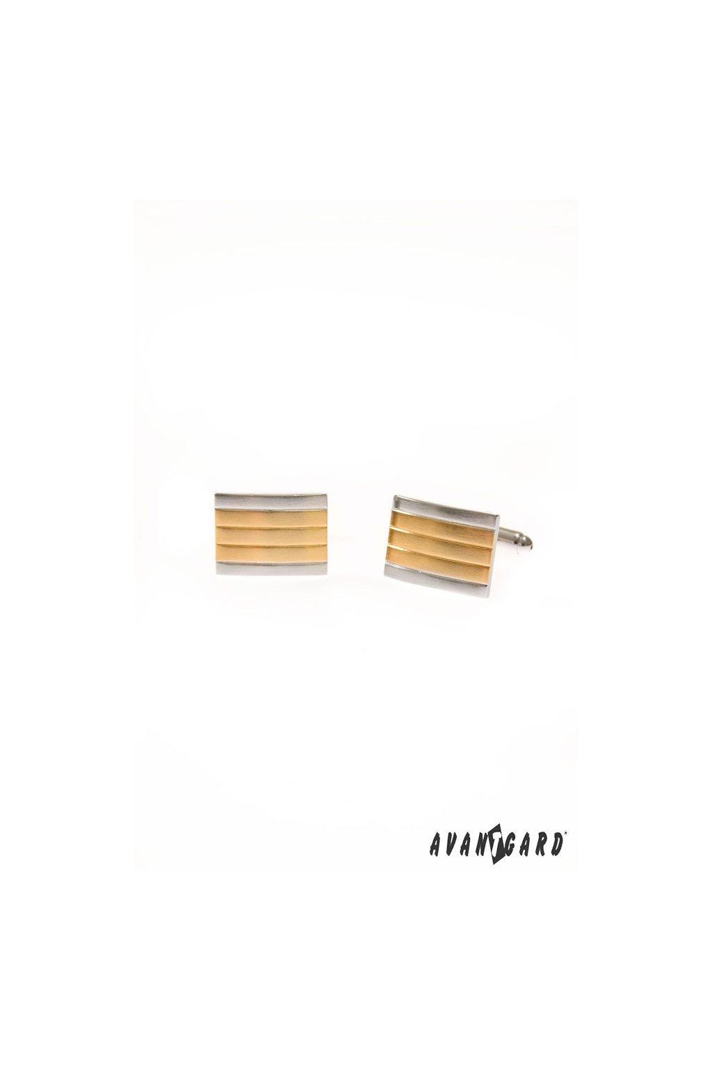 Obdelníkové pruhované zlato-stříbrné manžetové knoflíčky