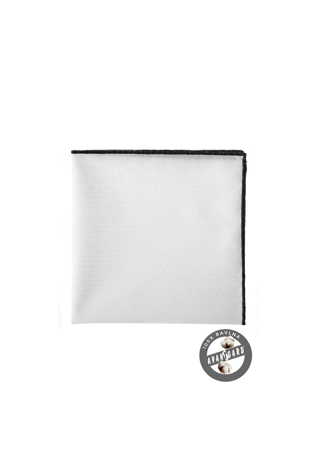 Bavlněný bílý kapesníček s černým okrajem