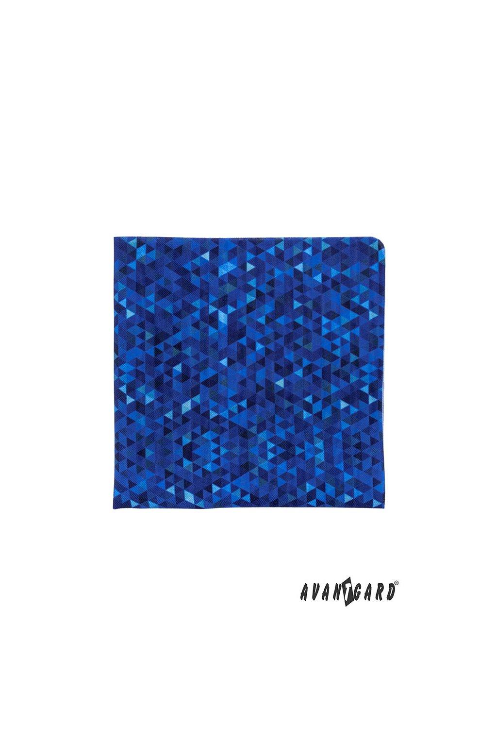 Modrý kapesníček do saka s trojúhelníčky