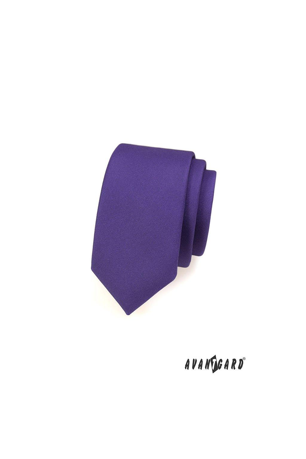 Fialová slim kravata