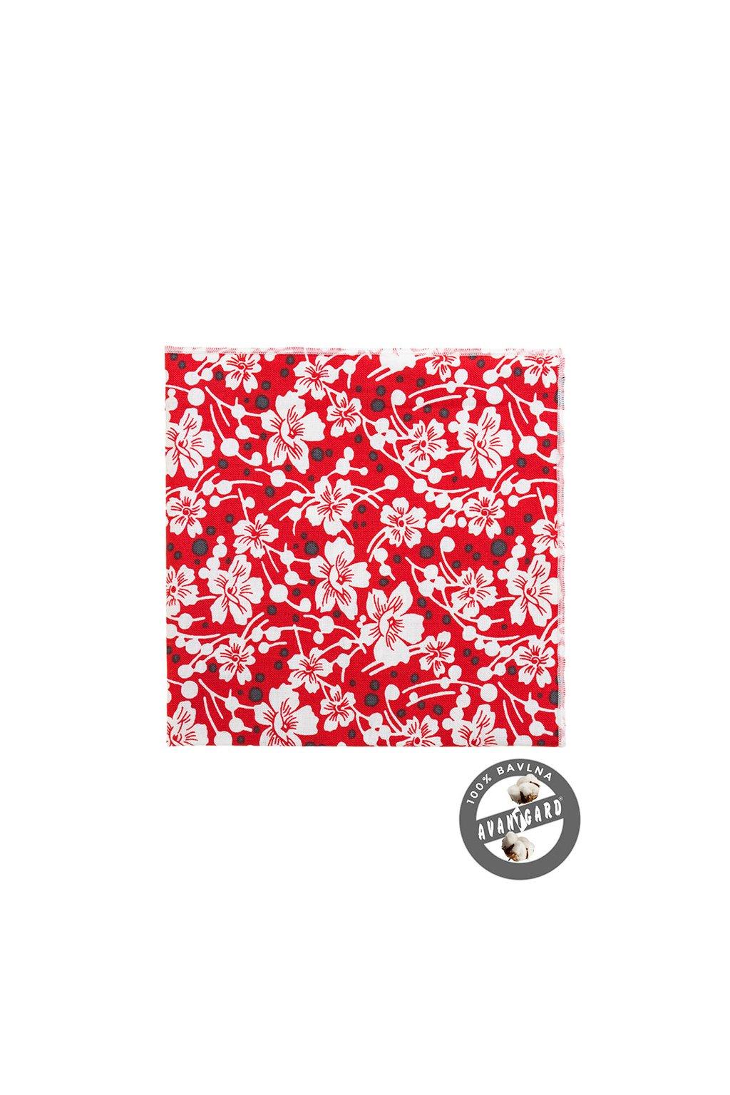 Bavlněný červený kapesníček s bílým vzorem