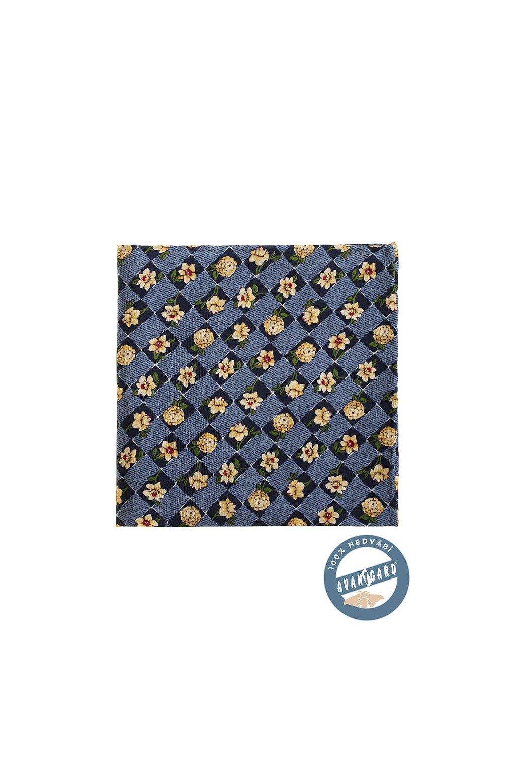 Hedvábný modrý kapesníček do saka s květinami