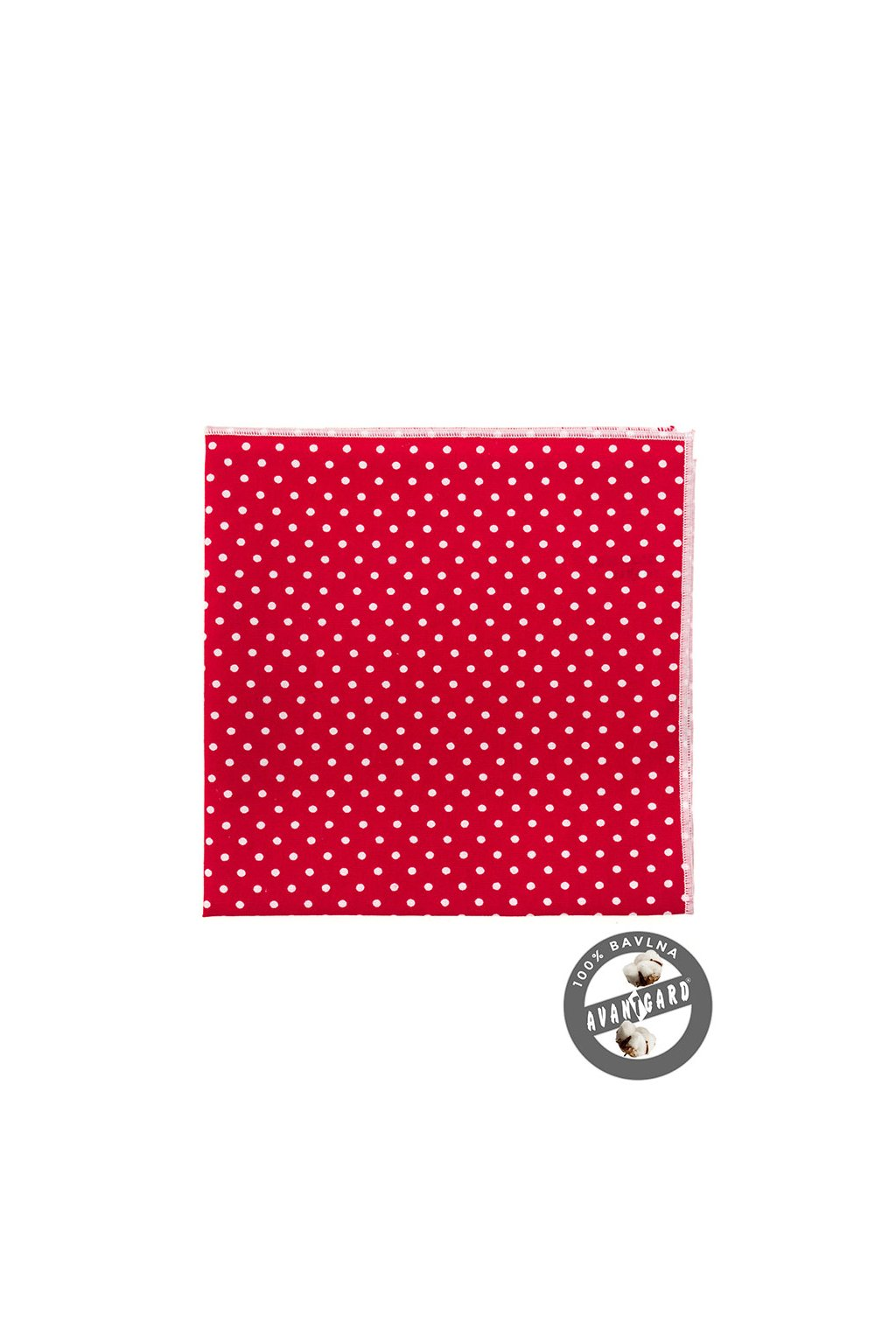 Červený kapesníček do saka s bílými okrajem a puntíky