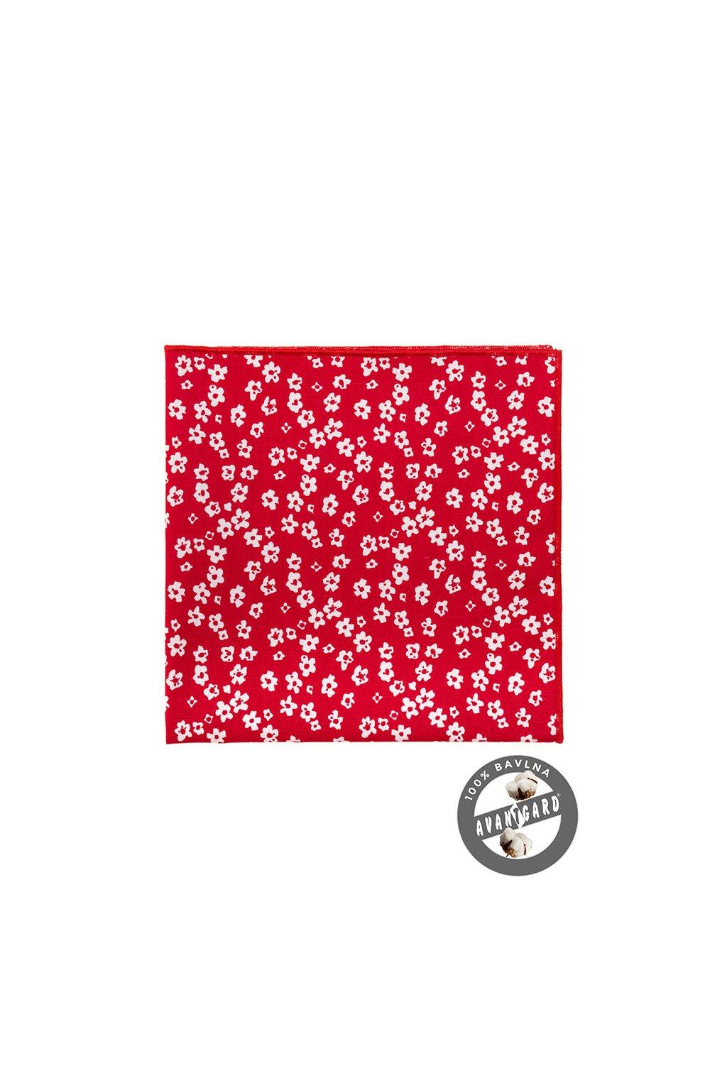 červený kapesníček do saka s bílými květinami