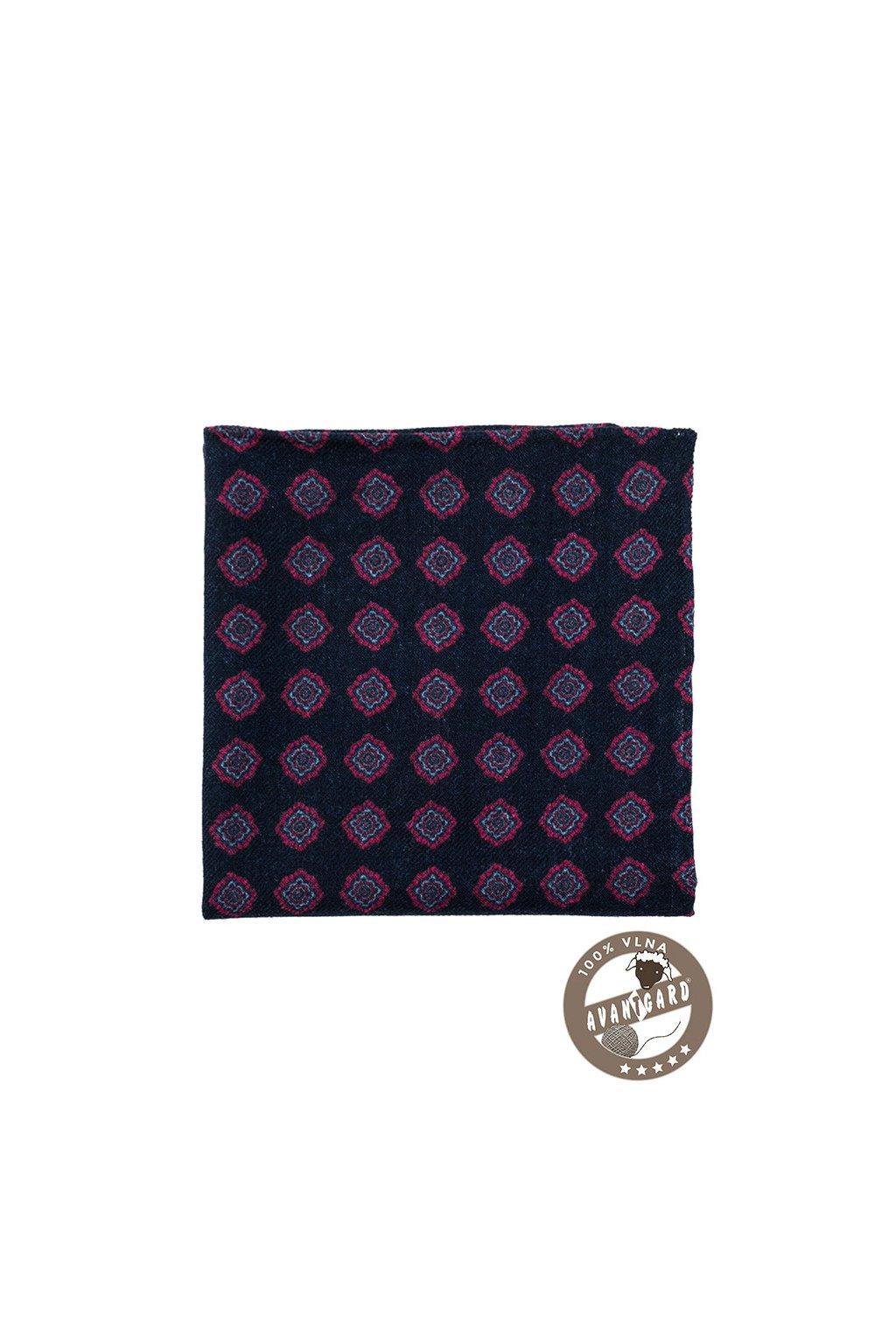 Tmavě modrý vlněný kapesníček se vzorem
