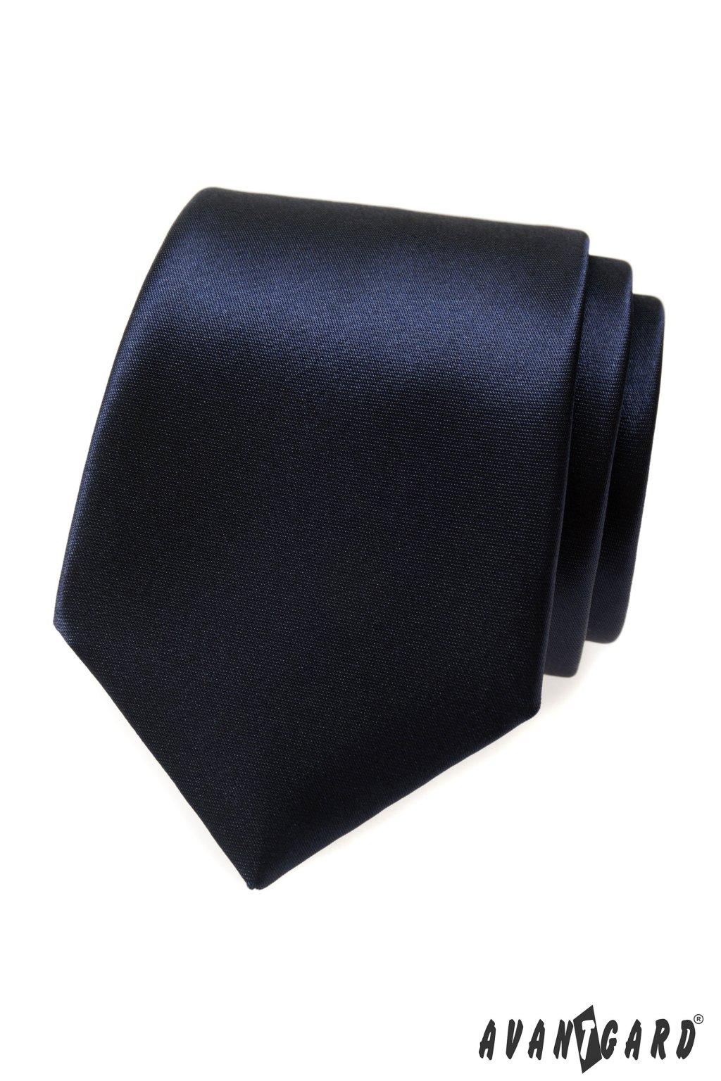 Lesklá tmavě modrá kravata