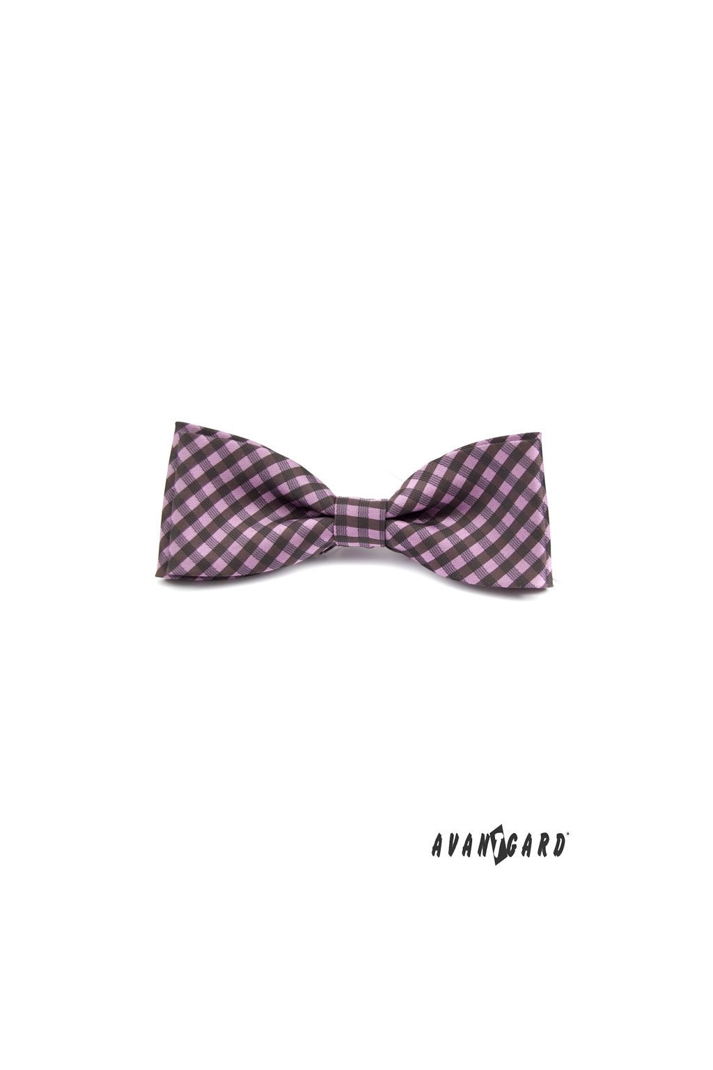 Motýlek Fialová Avantgard 100% polyester šířka 10 cm Károvaný