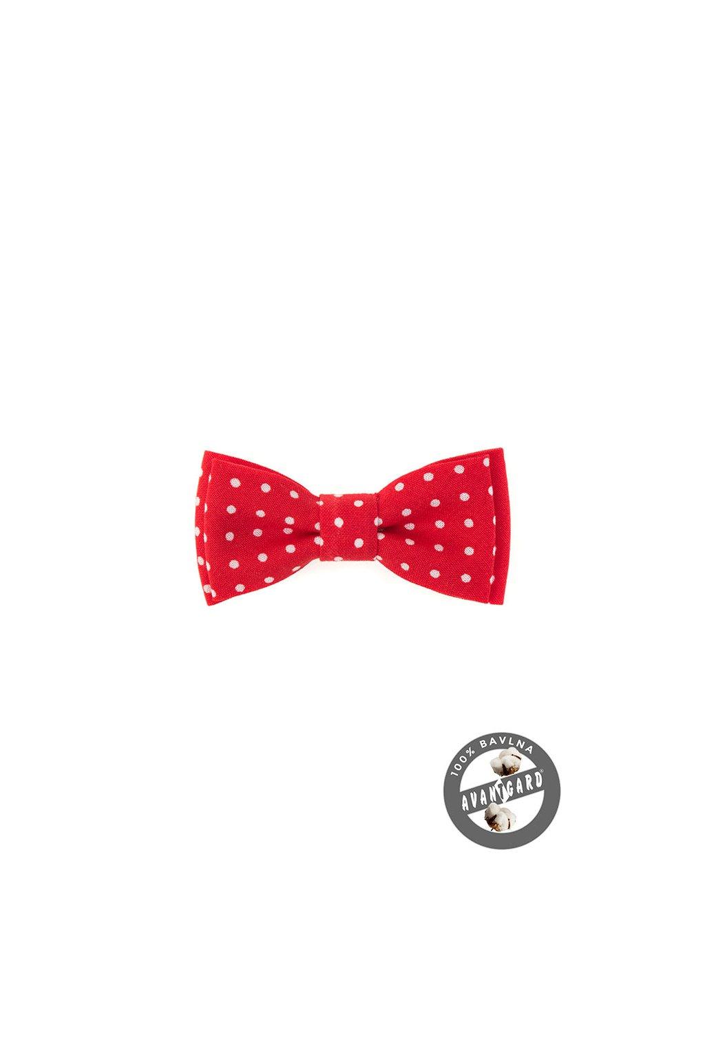 Červený dětský motýlek s bílými puntíky