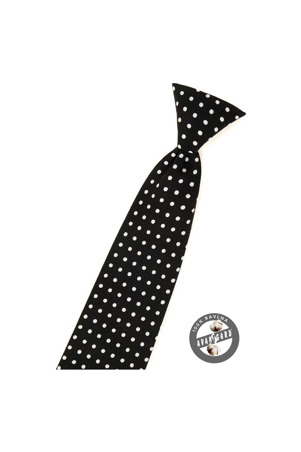 Černá dětská kravata s bílými puntíky