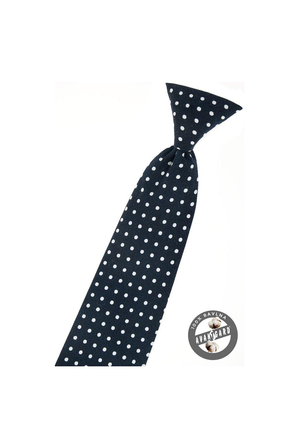 Černá dětská kravata – bílé puntíky