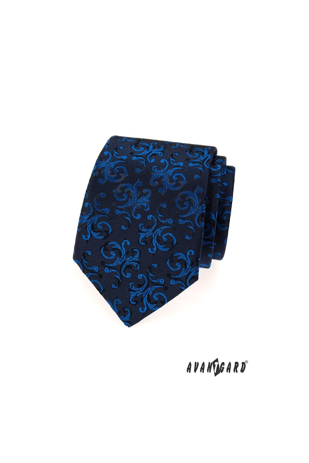 Tmavě modrá kravata s modrým zdobeným vzorem