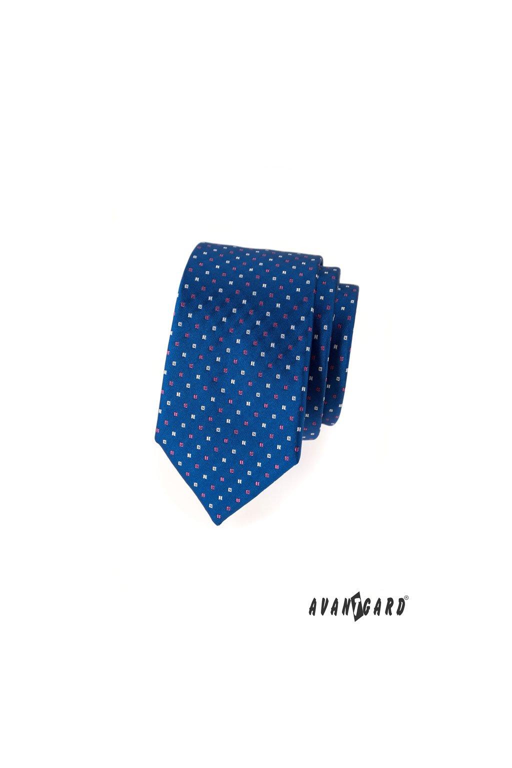 Modrá slim kravata – decentní diagonální vzor