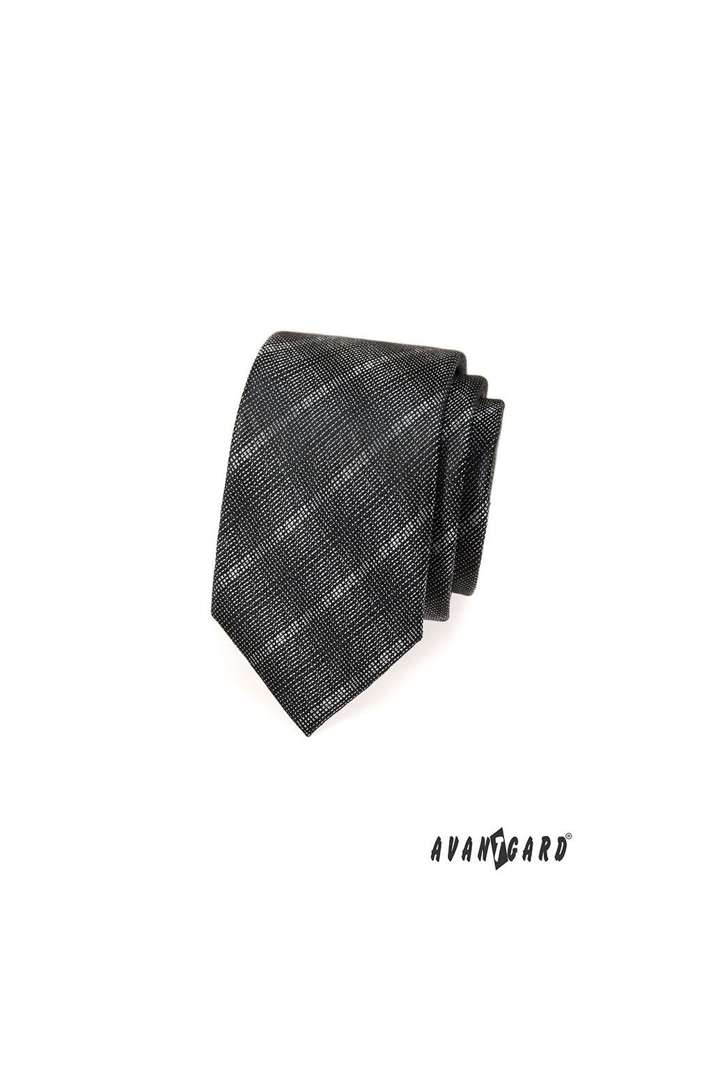 Tmavě šedá slim kravata s pruhy