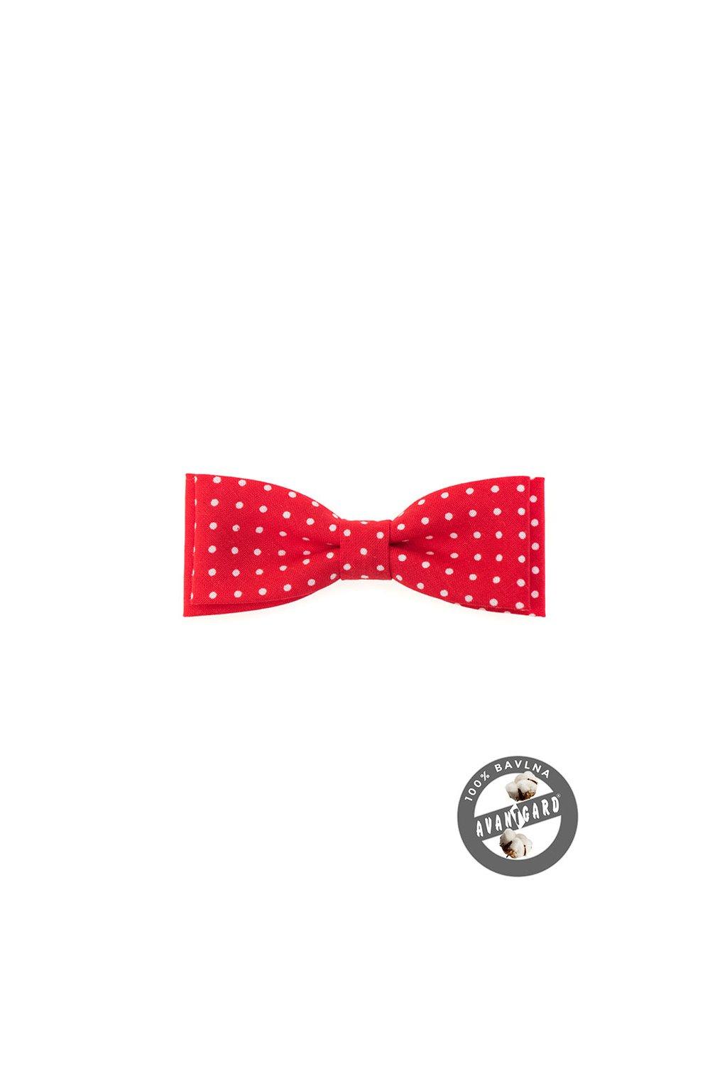 Bavlněný červený motýlek – bílé puntíky