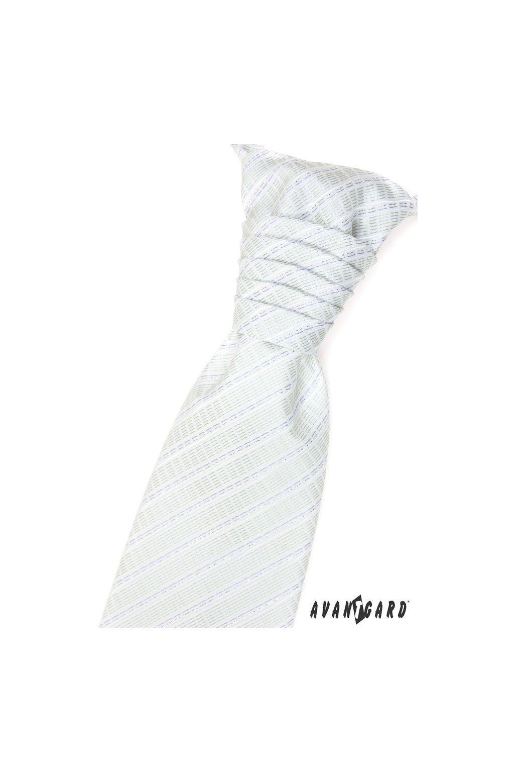 Bílá svatební kravata + kapesníček