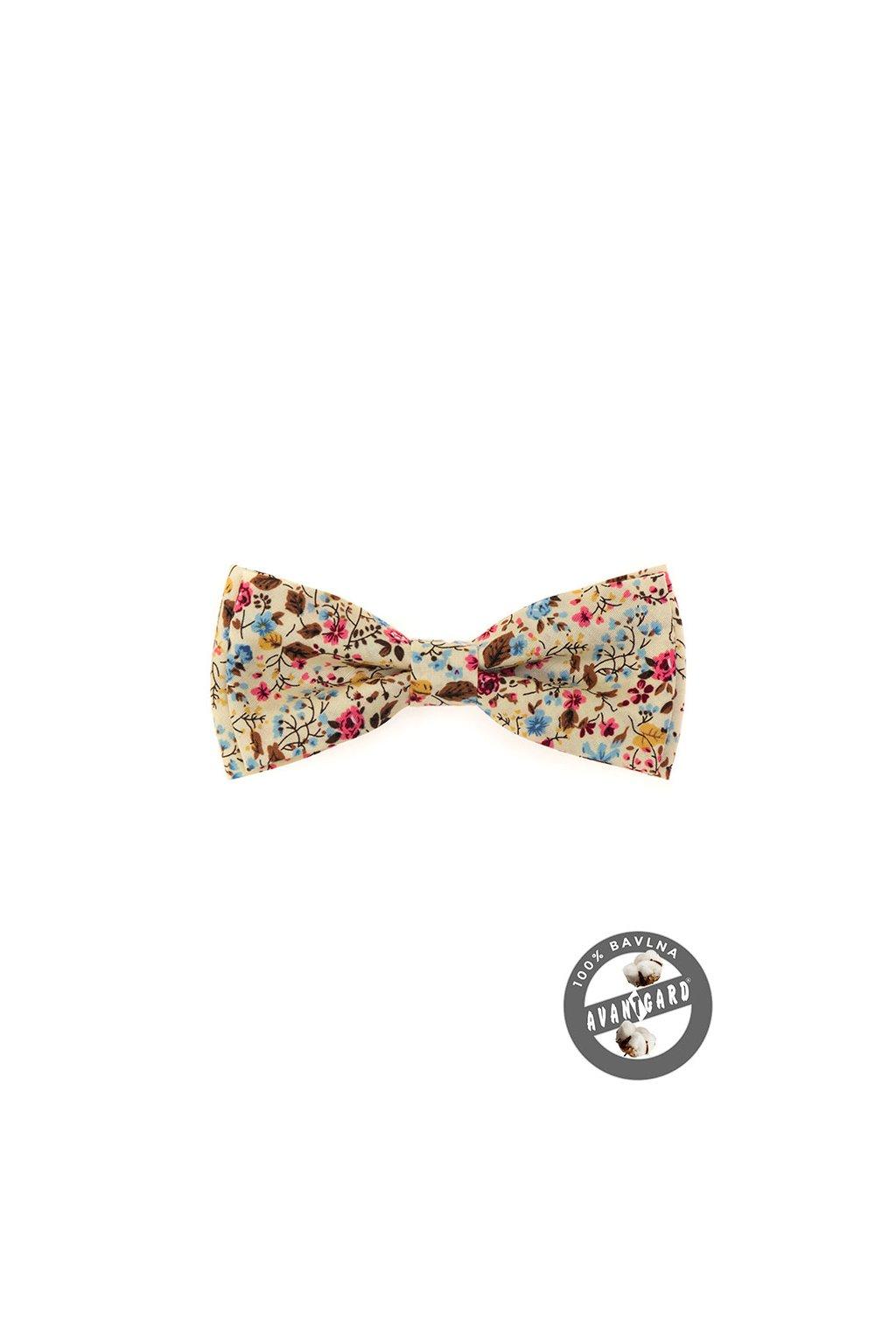 Bavlněný smetanový motýlek – barevný květovaný vzor