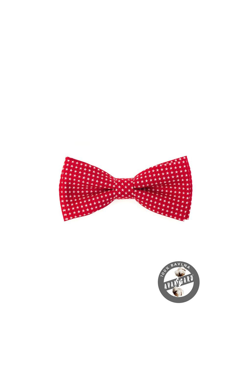 Bavlněný červený motýlek – bílé hvězdy