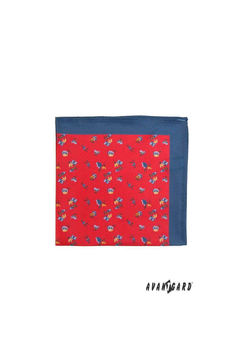 Červený kapesníček do saka s modrým okrajem – květiny
