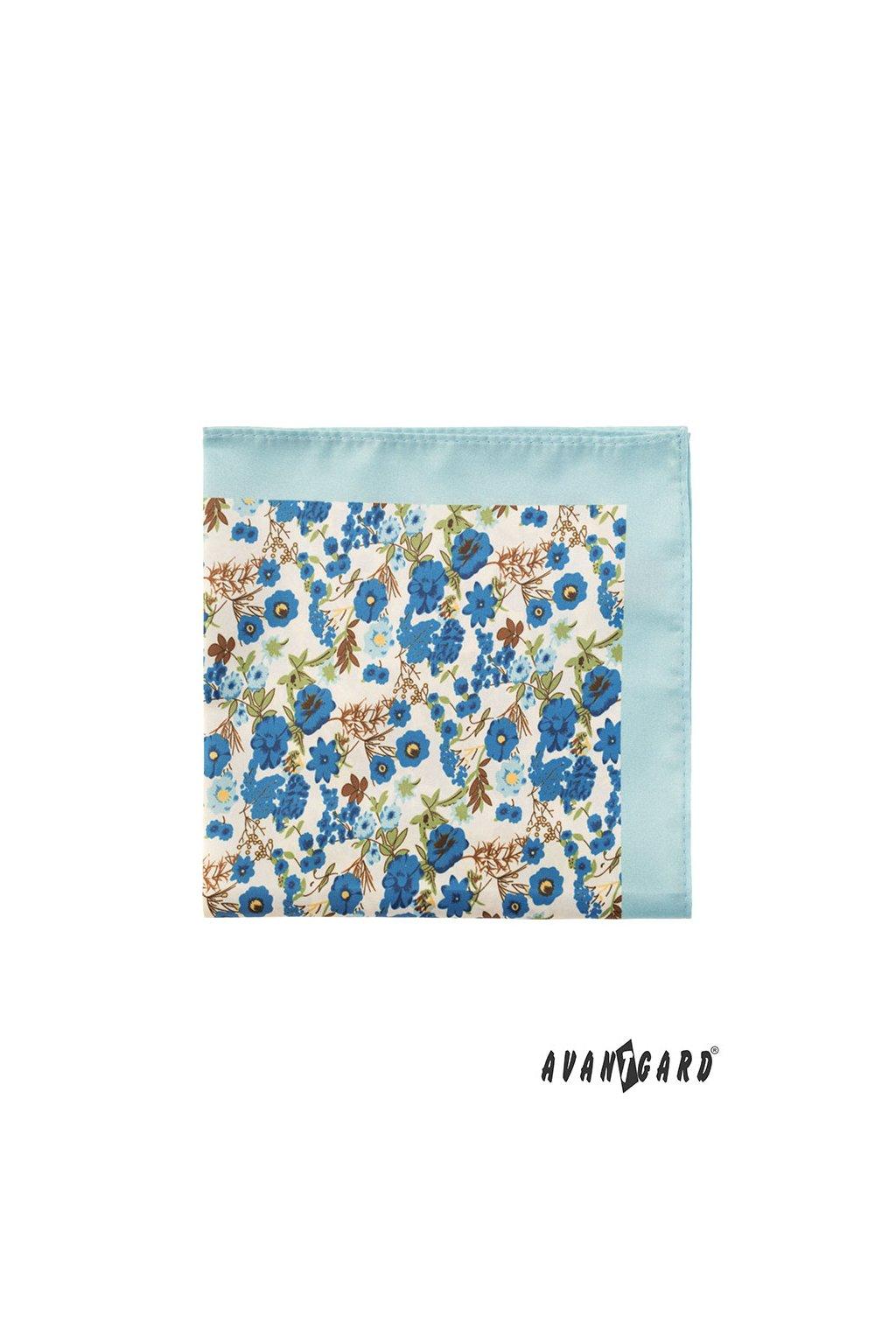 Světle modrý kapesníček do saka – barevné květiny