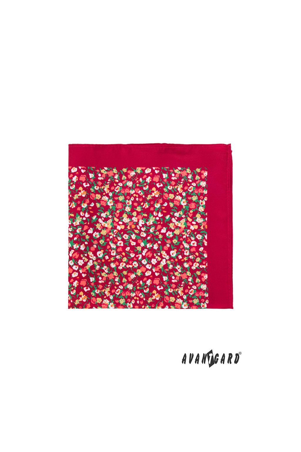 Červený kapesníček do saka – barevné květiny