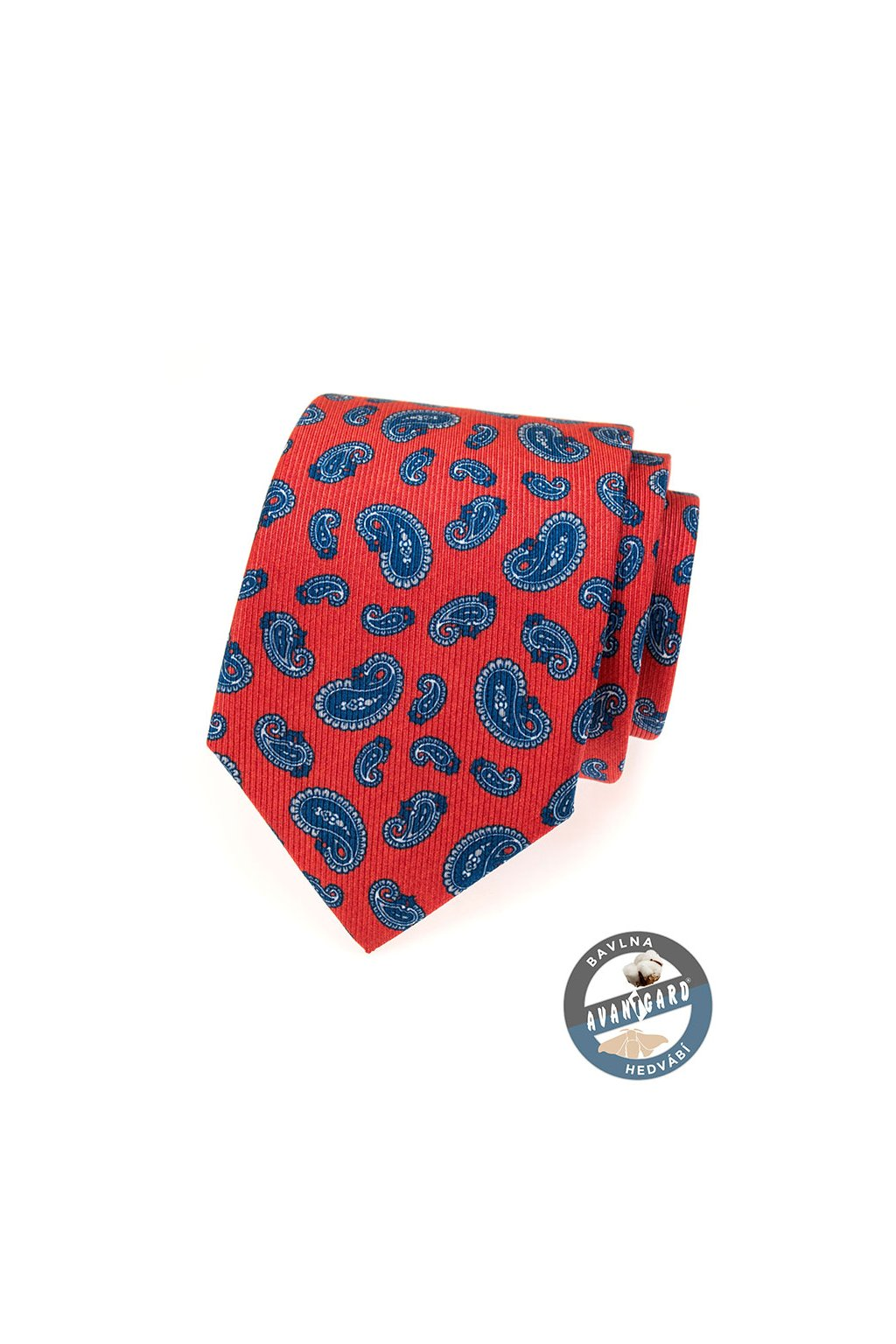 Hedvábná červená kravata – paisley vzor