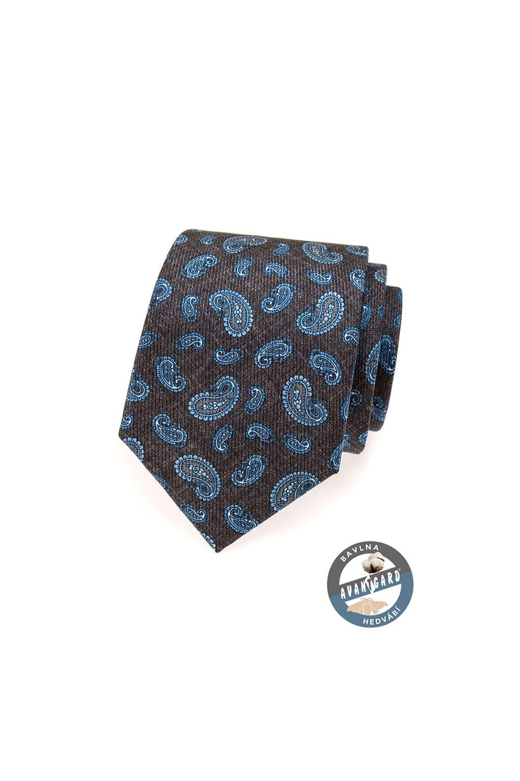 Hedvábná hnědá kravata – paisley vzor