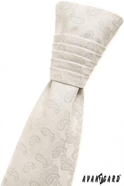 Smetanová svatební kravata - paisley