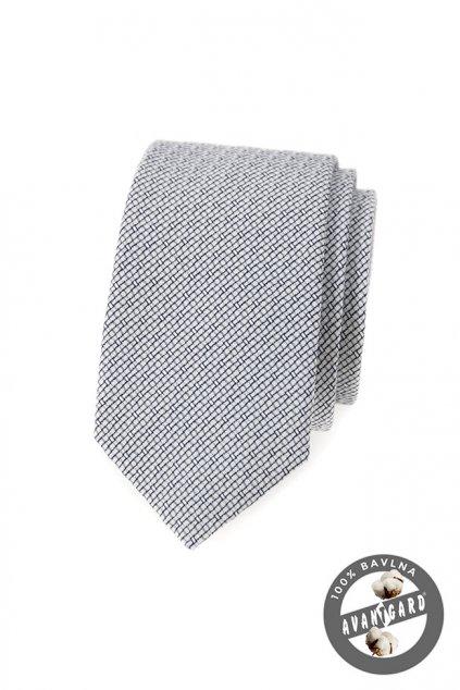 Černobílá slim kravata