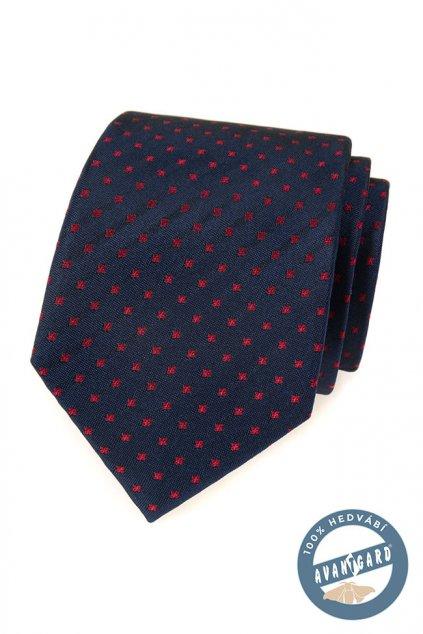 Modrá hedvábná kravata s červenými puntíky