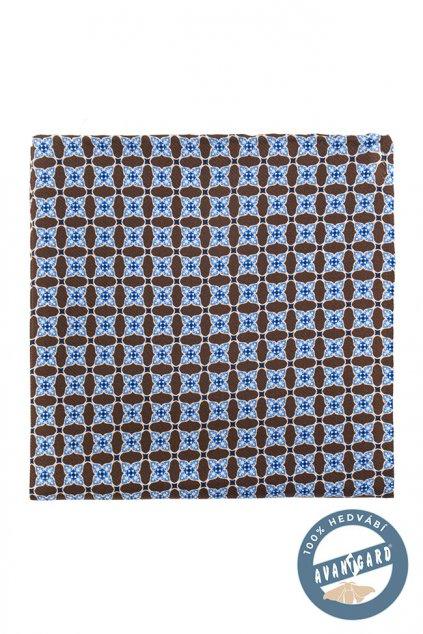 Hnědo-modrý kapesníček -mozaika