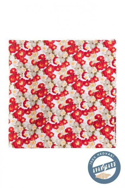 Bílo-červený kapesníček s květinami