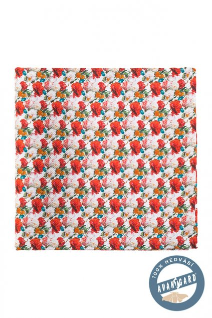 Bílo-červený kapesníček - květiny