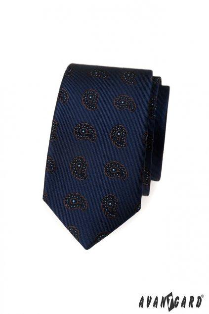 Modrá slim kravata - paisley vzor