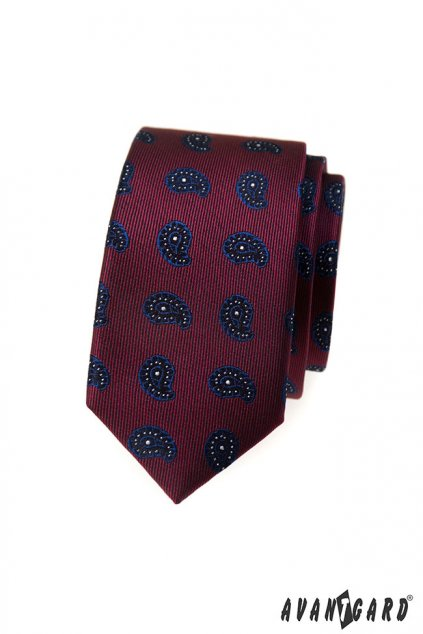 Vínová slim kravata - paisley