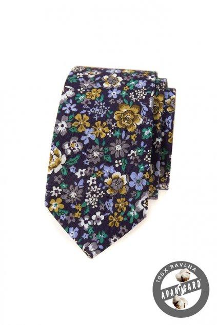 Fialová bavlněná slim kravata - květy