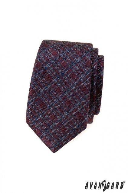 Vínová šrafovaná slim kravata