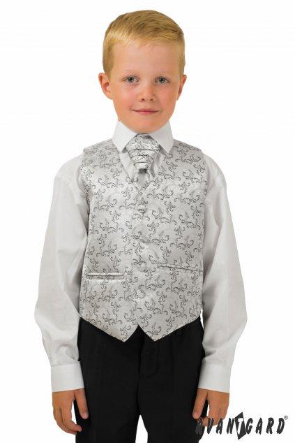 Stříbrno-šedá chlapecká vesta se svatební kravatou a kapesníčkem