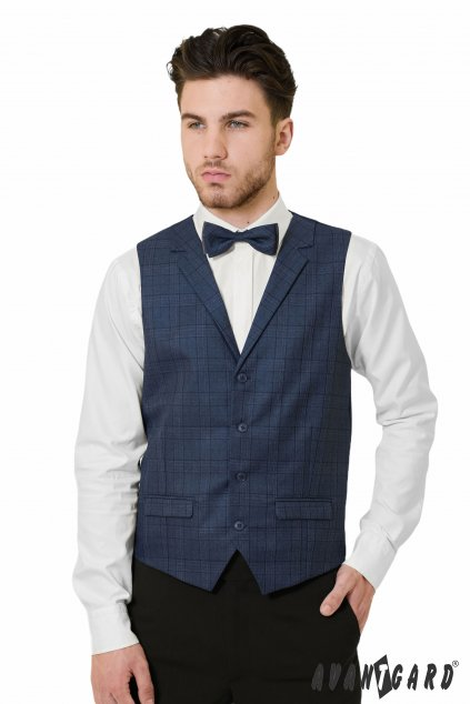 Tmavě modrá kostičkovaná vesta