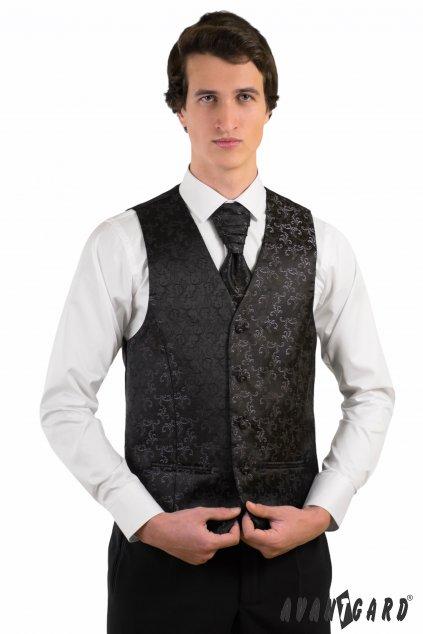 Zdobená černá vesta se svatební kravatou a kapesníčkem