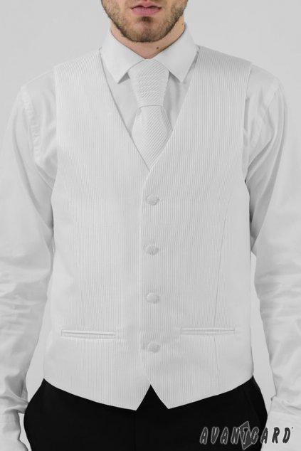 Bílá vesta se svatební kravatou a kapesníčkem - rýhovaný povrch