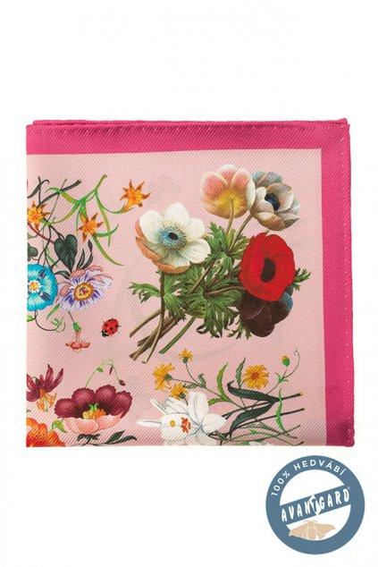Růžový hedvábný kapesníček se vzorem