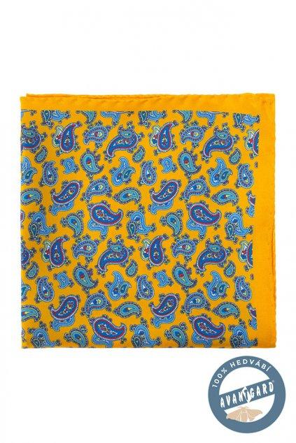 Žlutý kapesníček hedvábný se vzorem