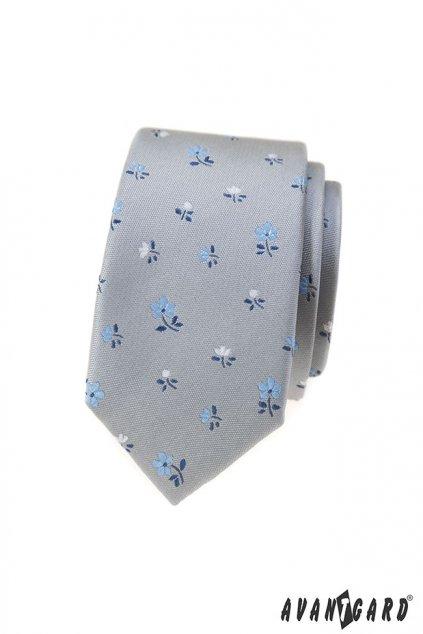 Šedá kravata s kytičkami