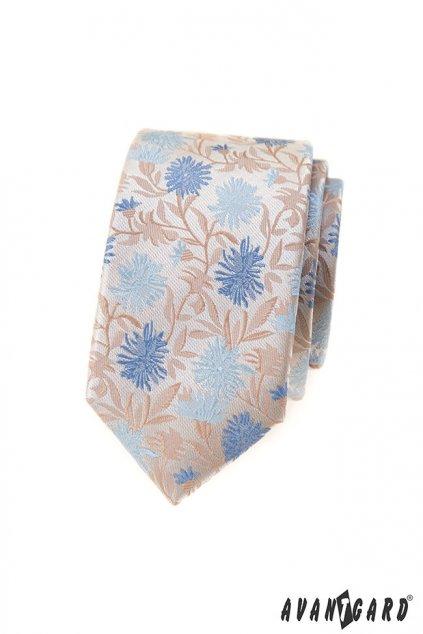 Béžová vzorovaná kravata
