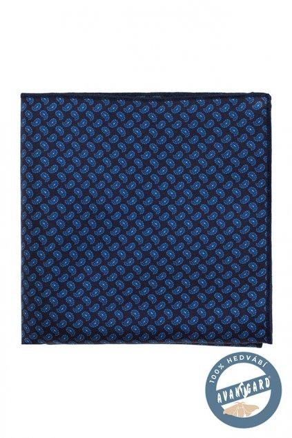 Kapesníček hedvábný modrý