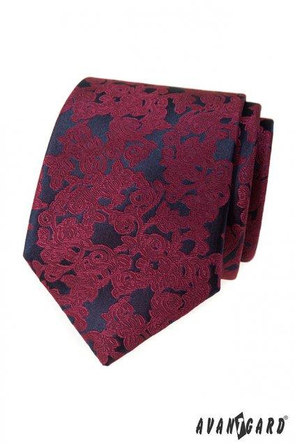 Vínová vzorovaná kravata