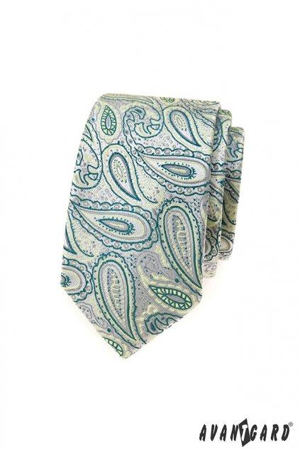 Zelená vzorovaná slim kravata